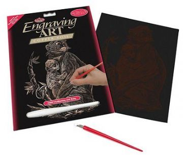 ENGRAVING ART SET - MONKEY AND BABY (COPPER FOIL) by ROYAL & LANGNICKEL